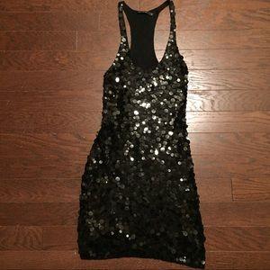 Black Slinky Pailette Sequined Racerback Dress LBD